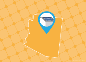 Simple map of Arizona with a map pin showing a roof with installed solar panels