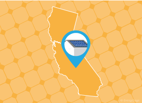 Simple map of California with a map pin showing a roof with installed solar panels