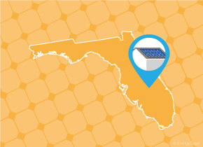 Simple map of Florida with a map pin showing a roof with installed solar panels
