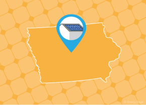 Simple map of Iowa with a map pin showing a roof with installed solar panels