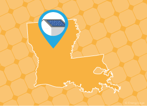 Simple map of Louisiana with a map pin showing a roof with installed solar panels
