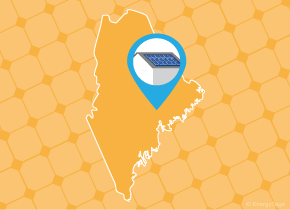 Simple map of Maine with a map pin showing a roof with installed solar panels