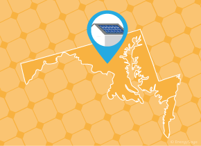 Simple map of Maryland with a map pin showing a roof with installed solar panels