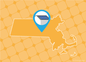 Simple map of Massachusetts with a map pin showing a roof with installed solar panels
