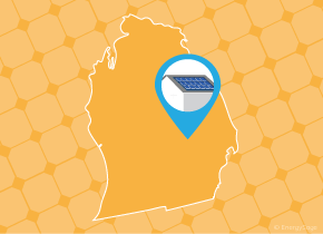 Simple map of Michigan with a map pin showing a roof with installed solar panels