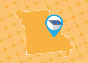 Simple map of Missouri with a map pin showing a roof with installed solar panels