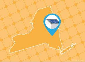 Simple map of New York with a map pin showing a roof with installed solar panels