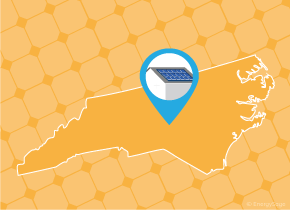 Simple map of North Carolina with a map pin showing a roof with installed solar panels