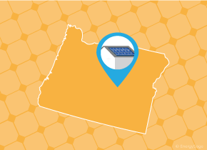 Simple map of Oregon with a map pin showing a roof with installed solar panels