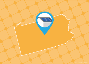 Simple map of Pennsylvania with a map pin showing a roof with installed solar panels