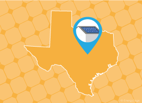 Simple map of Texas with a map pin showing a roof with installed solar panels