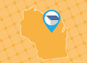 Simple map of Wisconsin with a map pin showing a roof with installed solar panels